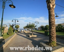 One road to the beach of Faliraki in Rhodes- Greece