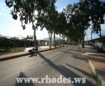 Road to the beach and the hotels of Kolimpia in Rhodes - Greece