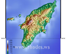 Map of the island of Rhodes - Greece
